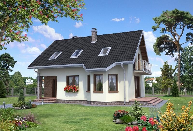 Одноэтажные дома с мансардой фото из пеноблоков