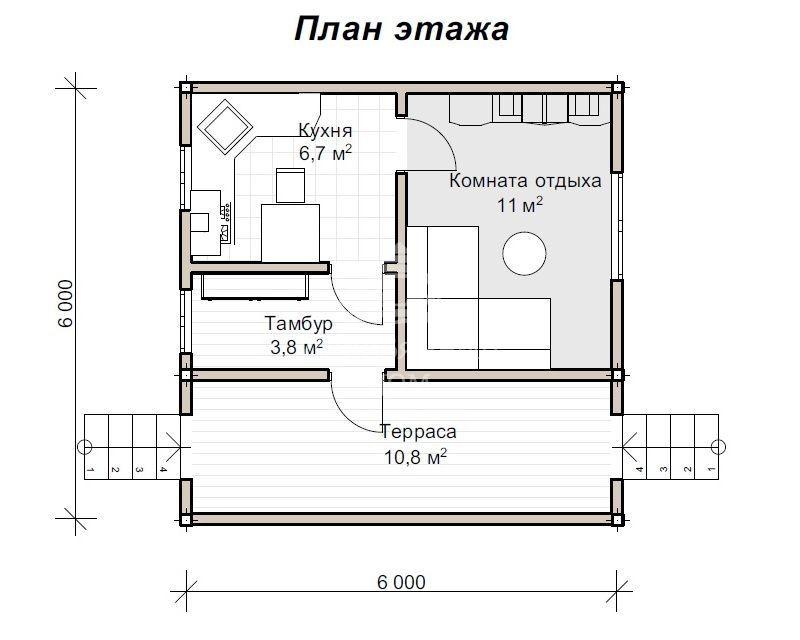 Дом 6 на 8: планировки, проекты с мансардой одно и двухэтажных домов | 640x800